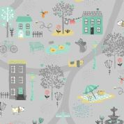 A Walk in The Park by Makower UK - 6454 - Town Park Scene on Grey - 2141_S - Cotton Fabric